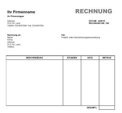 Rechnung Vorlage Word Office Gratis Download Rechnung