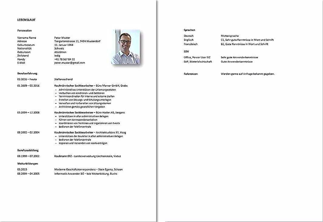 Lebenslauf Und Motivationsschreiben Vorlage Berufstatige