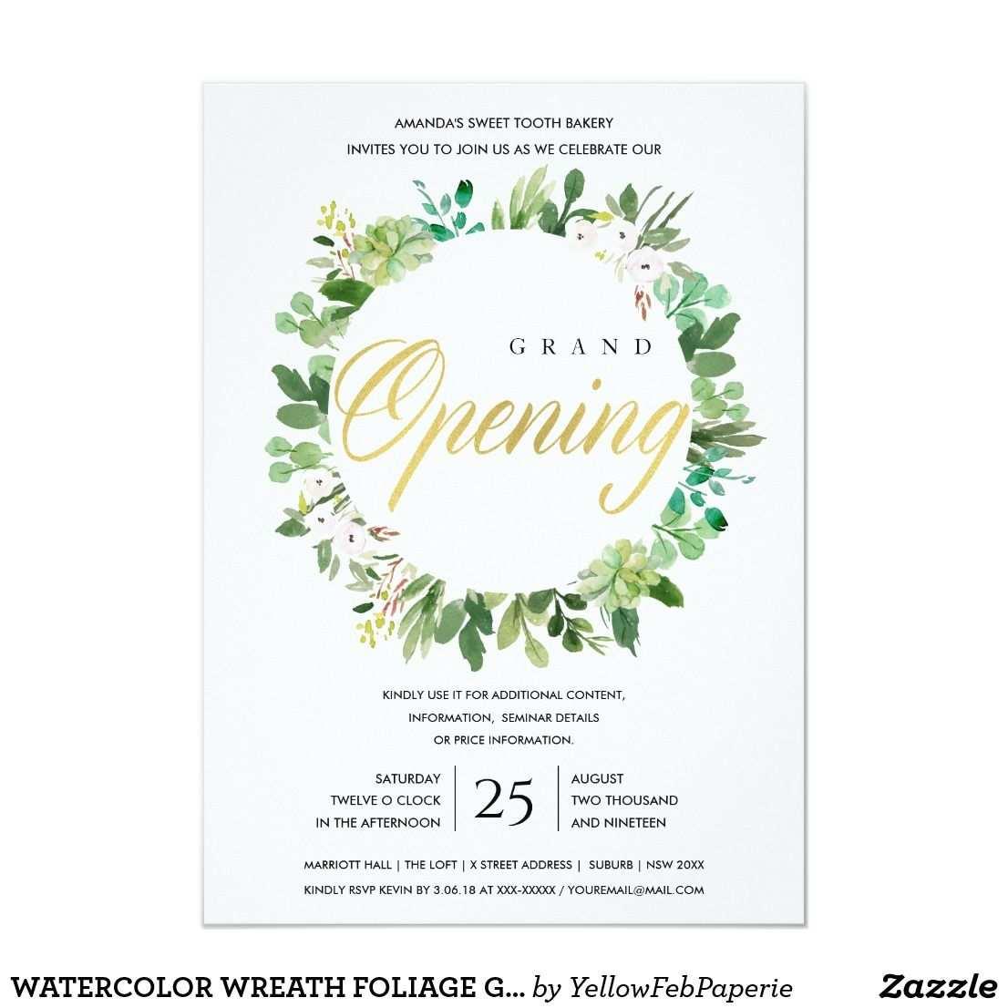 Watercolor Wreath Foliage Grand Opening Ceremony Invitation