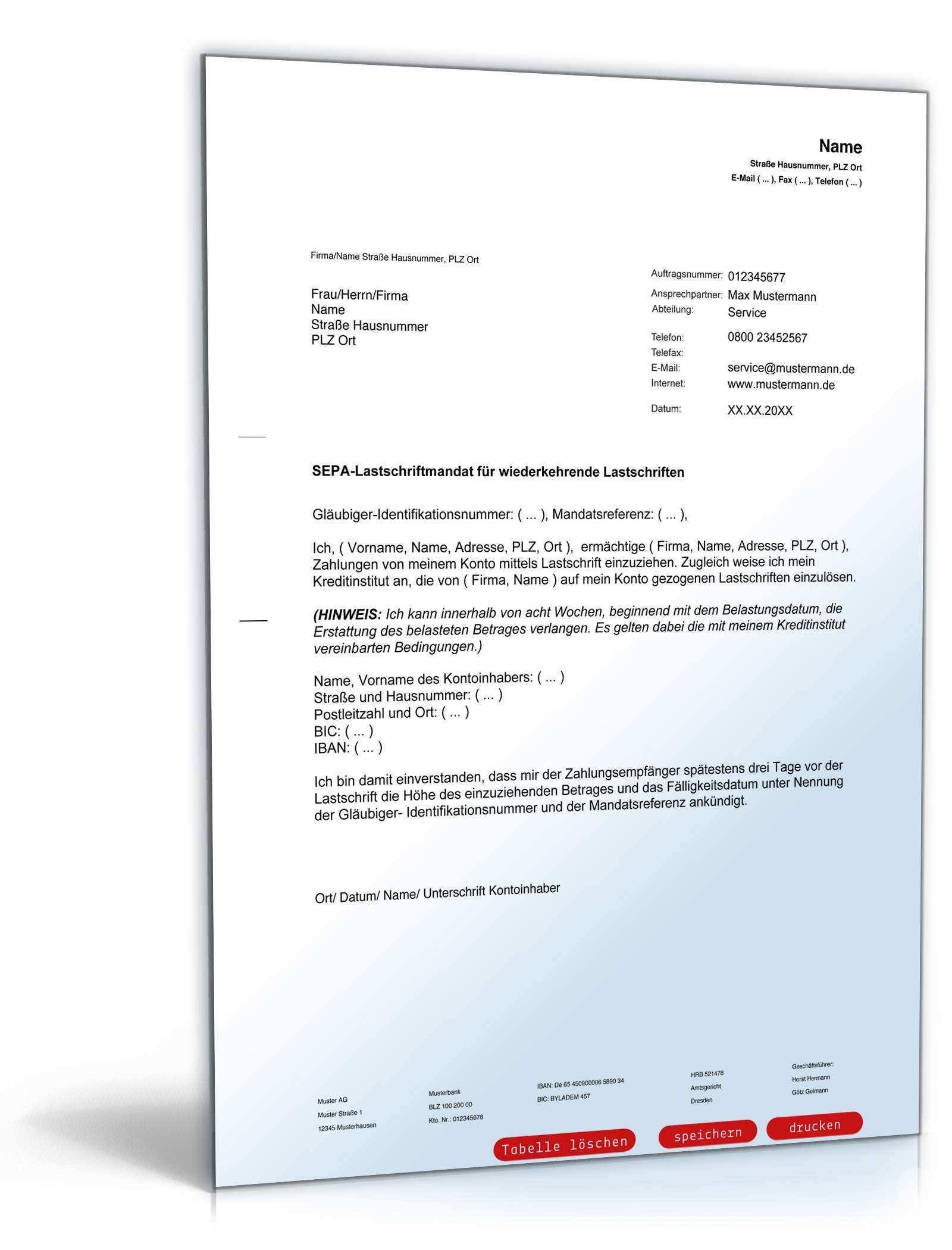 Sepa Lastschriftmandat Muster Vorlage Zum Download