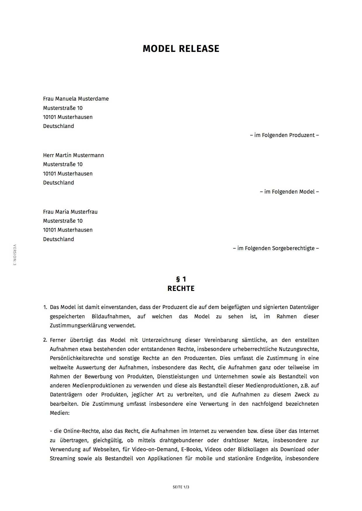 Model Release Modelvertrag Erstellen Smartlaw