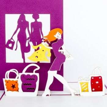 Pop Up Karte Shopping Gutschein Shoppen Bestefreundin Bff