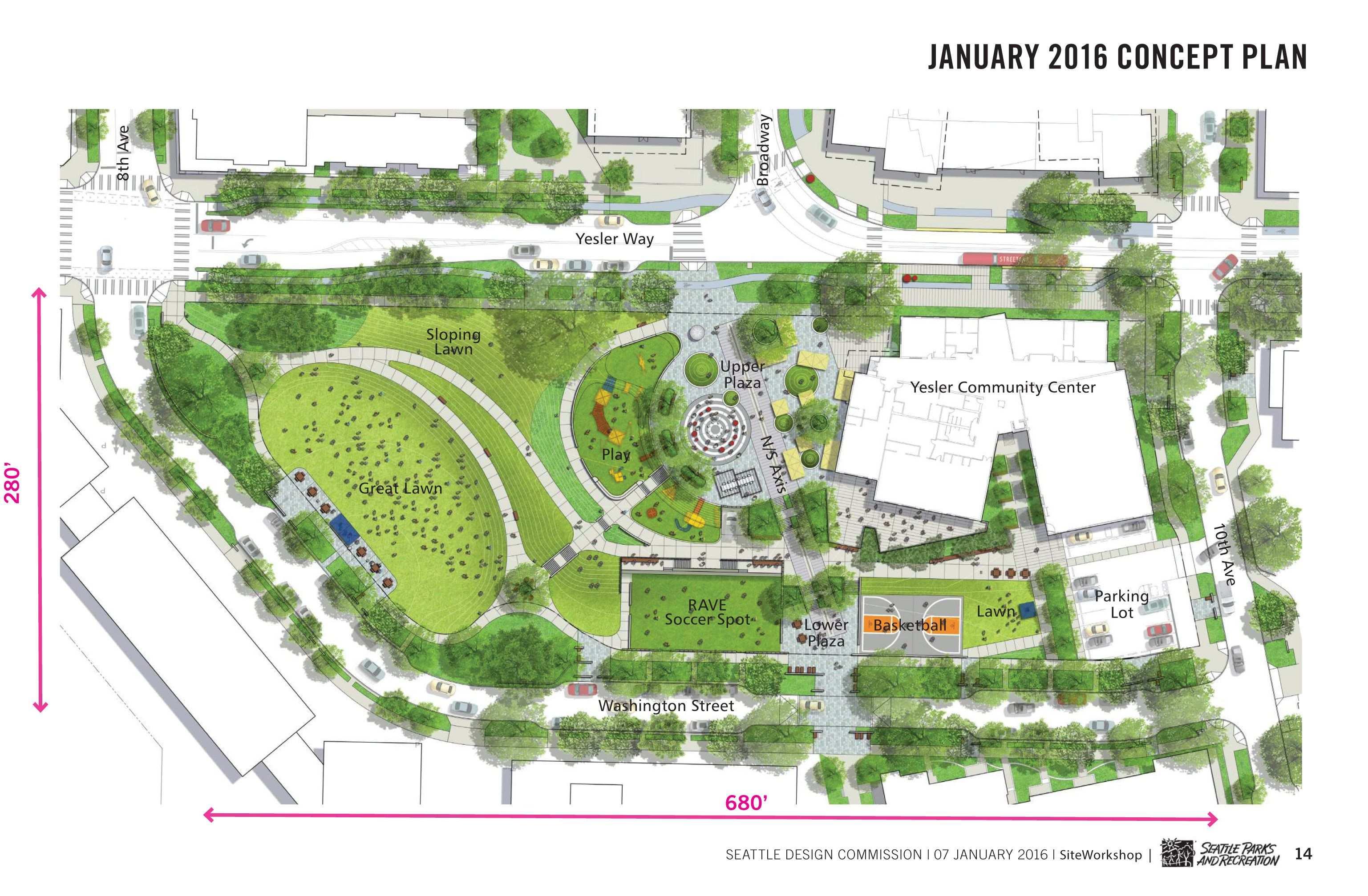 Yesler Site Plan Landscape Architecture Plan Parking Design