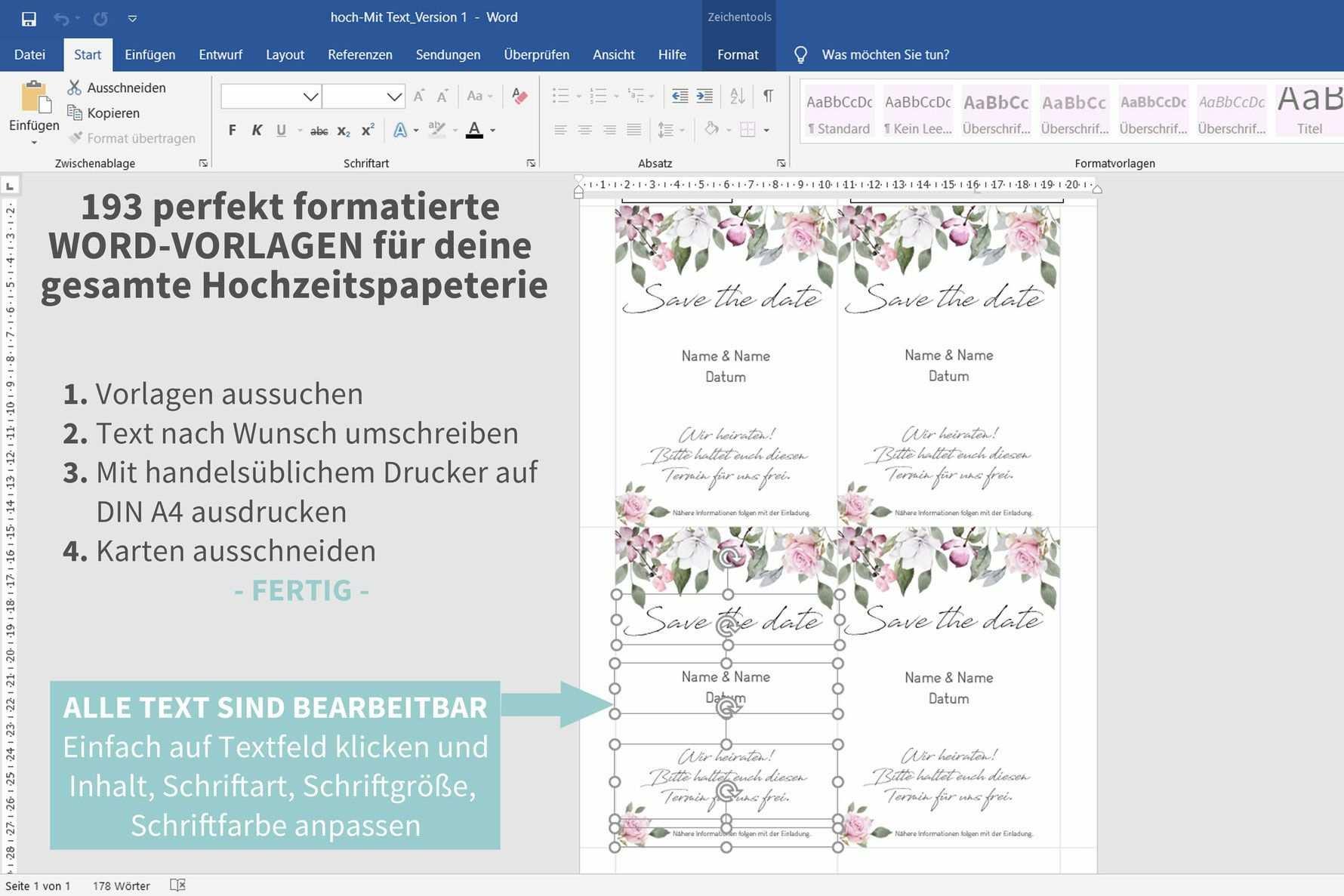 Rose 193 Word Vorlagen Zum Ausdrucken Einladungskarten Hochzeit