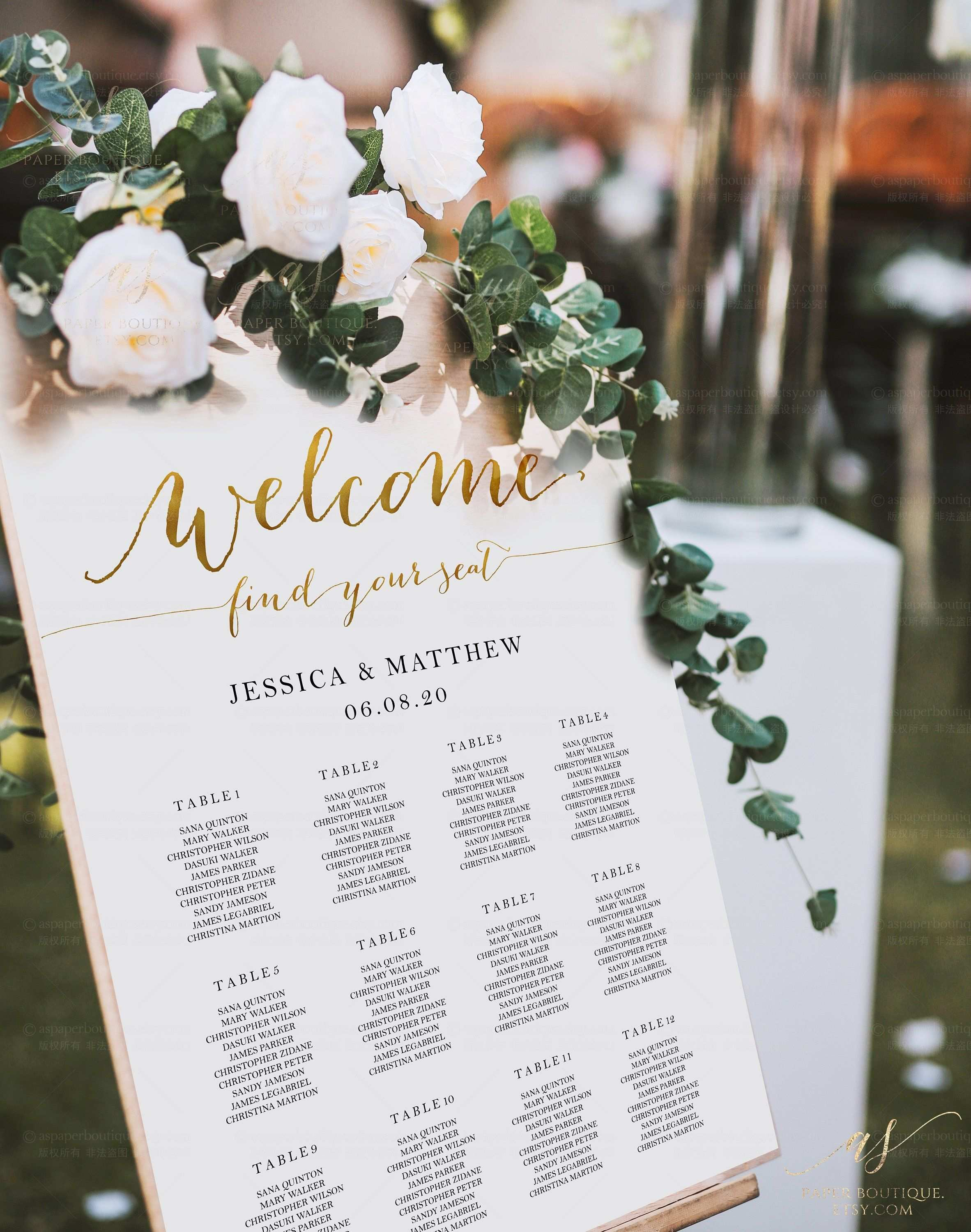Gold Seating Chart Welcome Seating Chart Wedding Welcome Find
