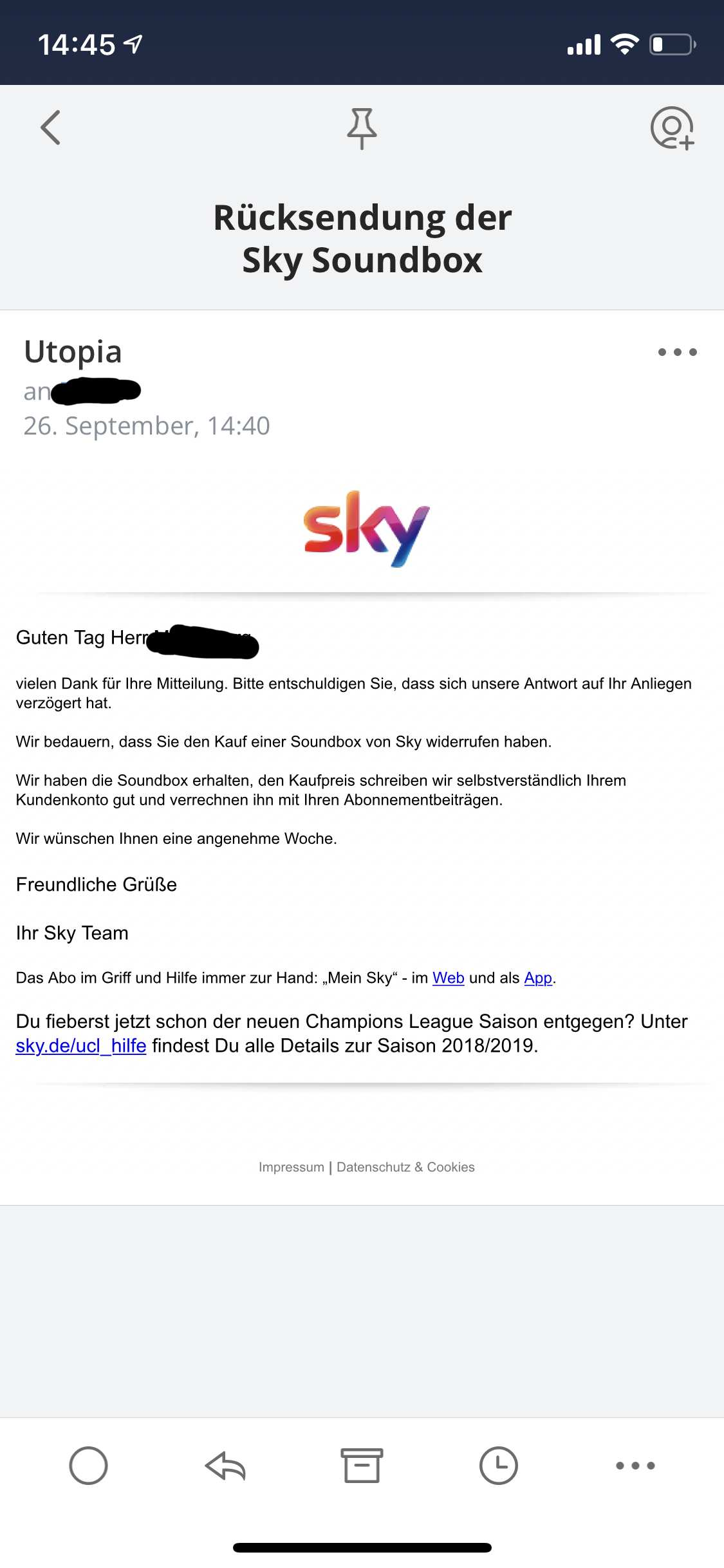Sky Widerruf Email