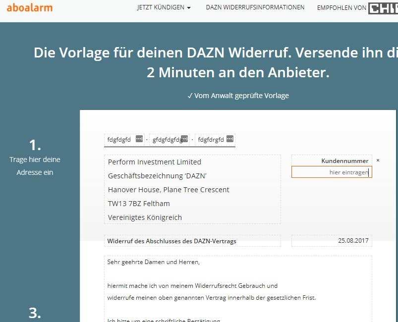 Dazn Widerruf Vorlage Download Chip