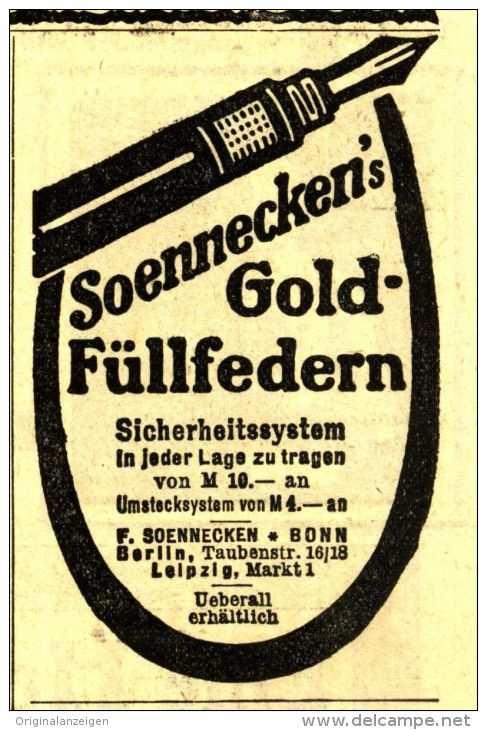 Original Werbung Anzeige 1912 Soennecken Gold Fullfeder Ca