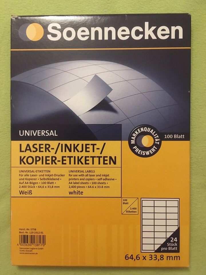 Soennecken 5758 Aufkleber Etiketten 64 6x33 8 Mm In Sachsen