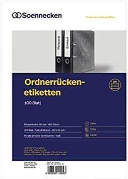 Soennecken Ordneretikett 66309 Breit Kurz Sk Weiss 400 St Pack