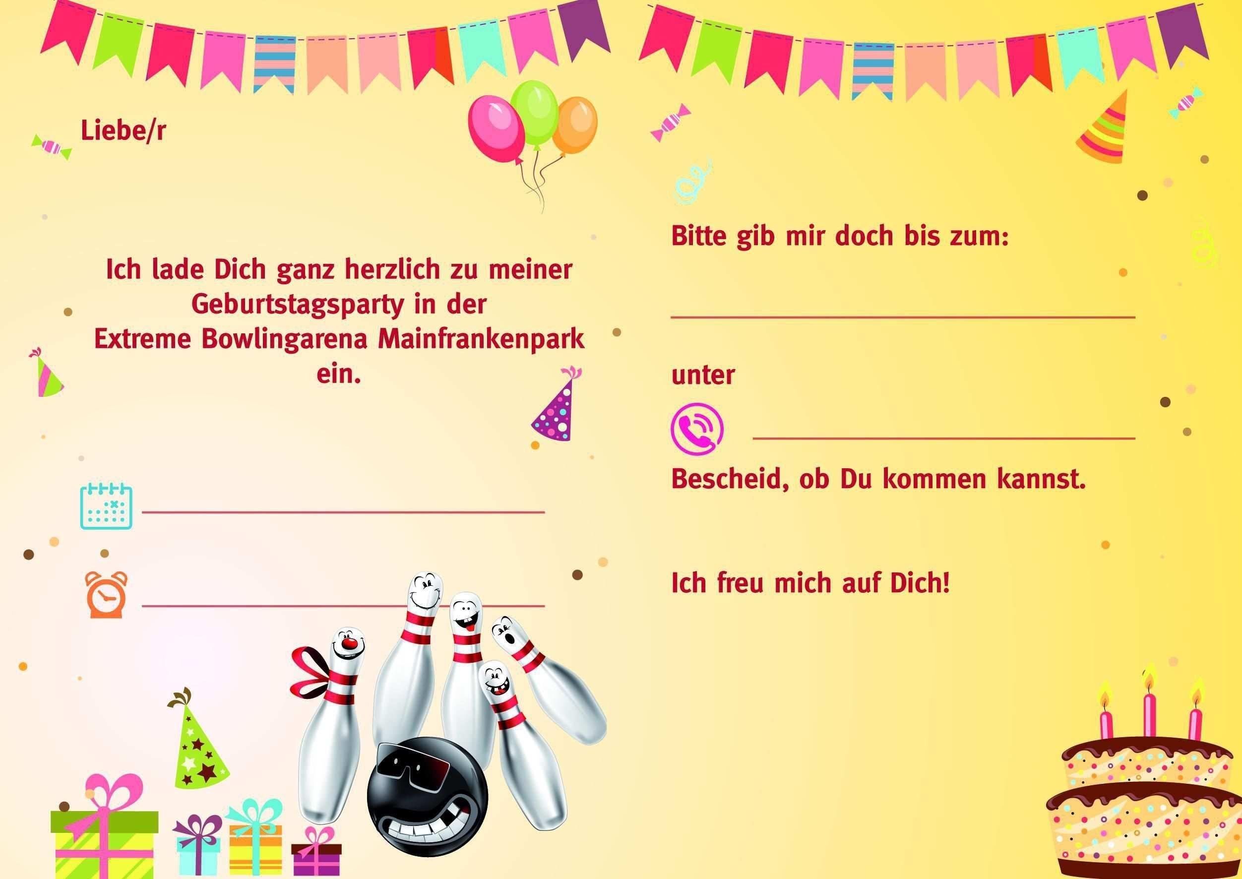 Einladung Bowlingkugel Einladungen Geburtstag Kostenlos