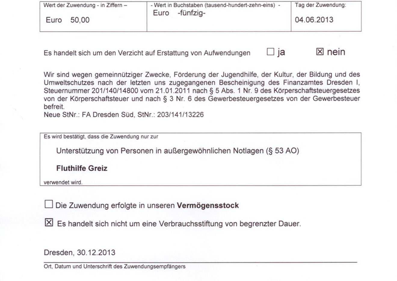 Spendenbescheinigung Werden Ausgestellt Vogtlandspiegel