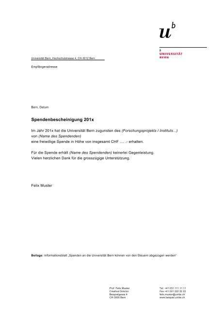 Vorlage Spendenbescheinigung Finanzabteilung Universitat Bern