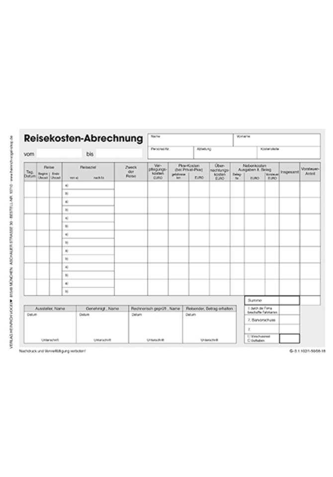 Reisekostenabrechnung Online Kaufen Im Verlag Heinrich Vogel Shop