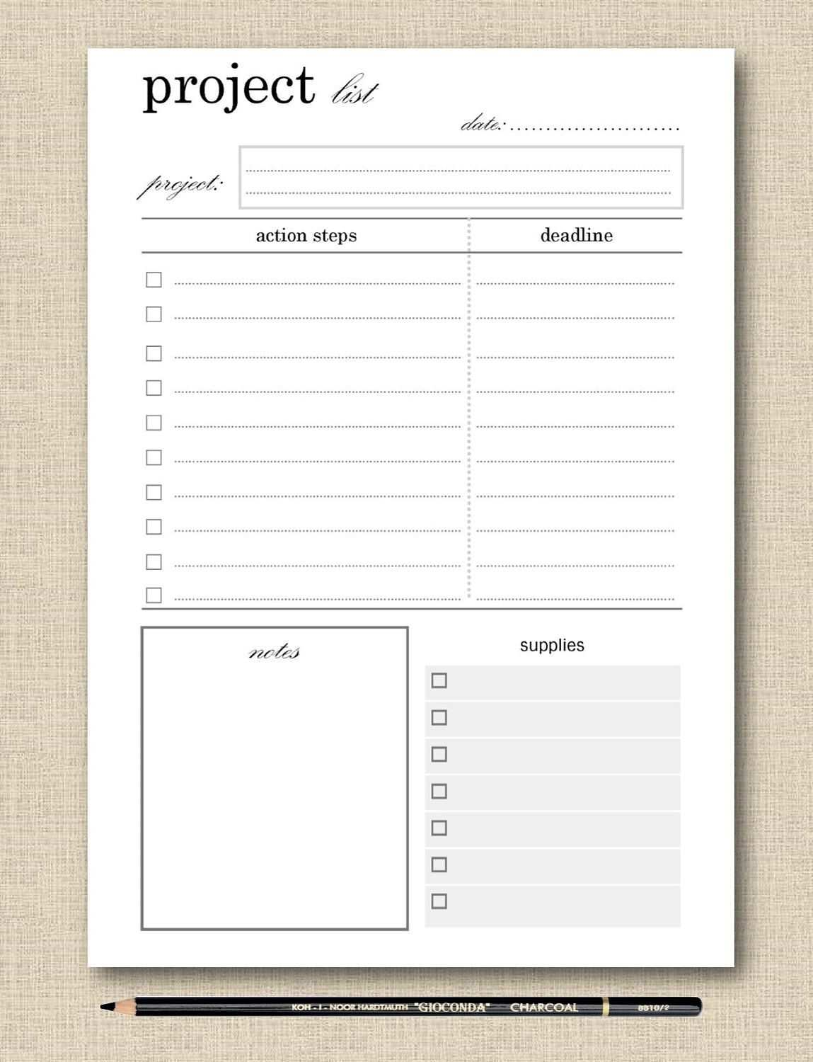 Life S Lists Printable Project Planner Planner Page Project