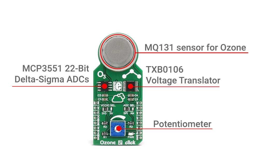 Ozone 2 Click Board With An Mq131 Sensor For O3 Mikroelektronika