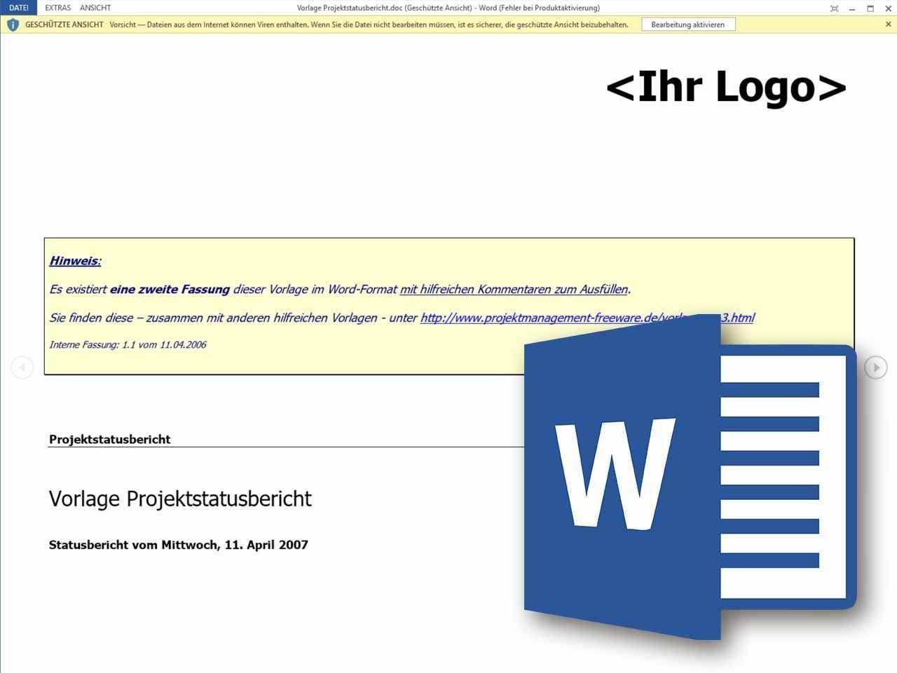 Projektstatusbericht Im Projektmanagement Als Word Vorlage Vorlagen