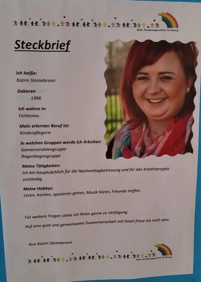 Steck Brief Steckbrief Erzieherin Kindergartenbeginn