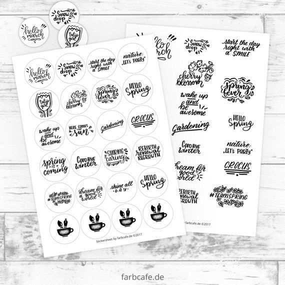 Fruhling Sticker Bogen 2 Versionen In Stempel Optik Lettering