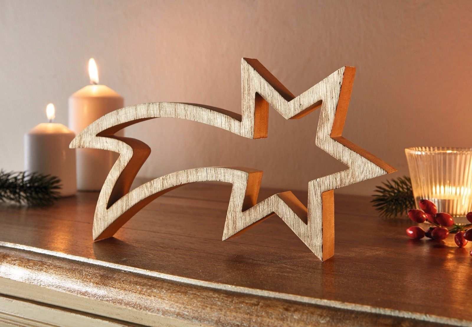 Stern Sternschnuppe Deko Holz Figuren Weihnachten Weihnachtsdeko