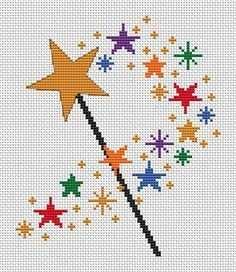 Zauberstab Kreuzstichmuster Druckbare Gezahlt Kreuzstich Sterne