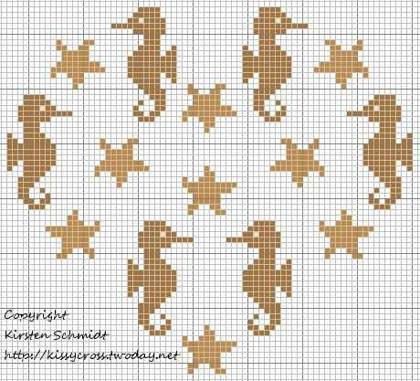 Seahorse Heart Kreuzstichmuster Sticken Kreuzstich Und