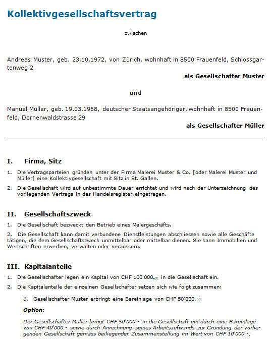Gesellschaftsvertrag Kollektivgesellschaft Muster Zum Download