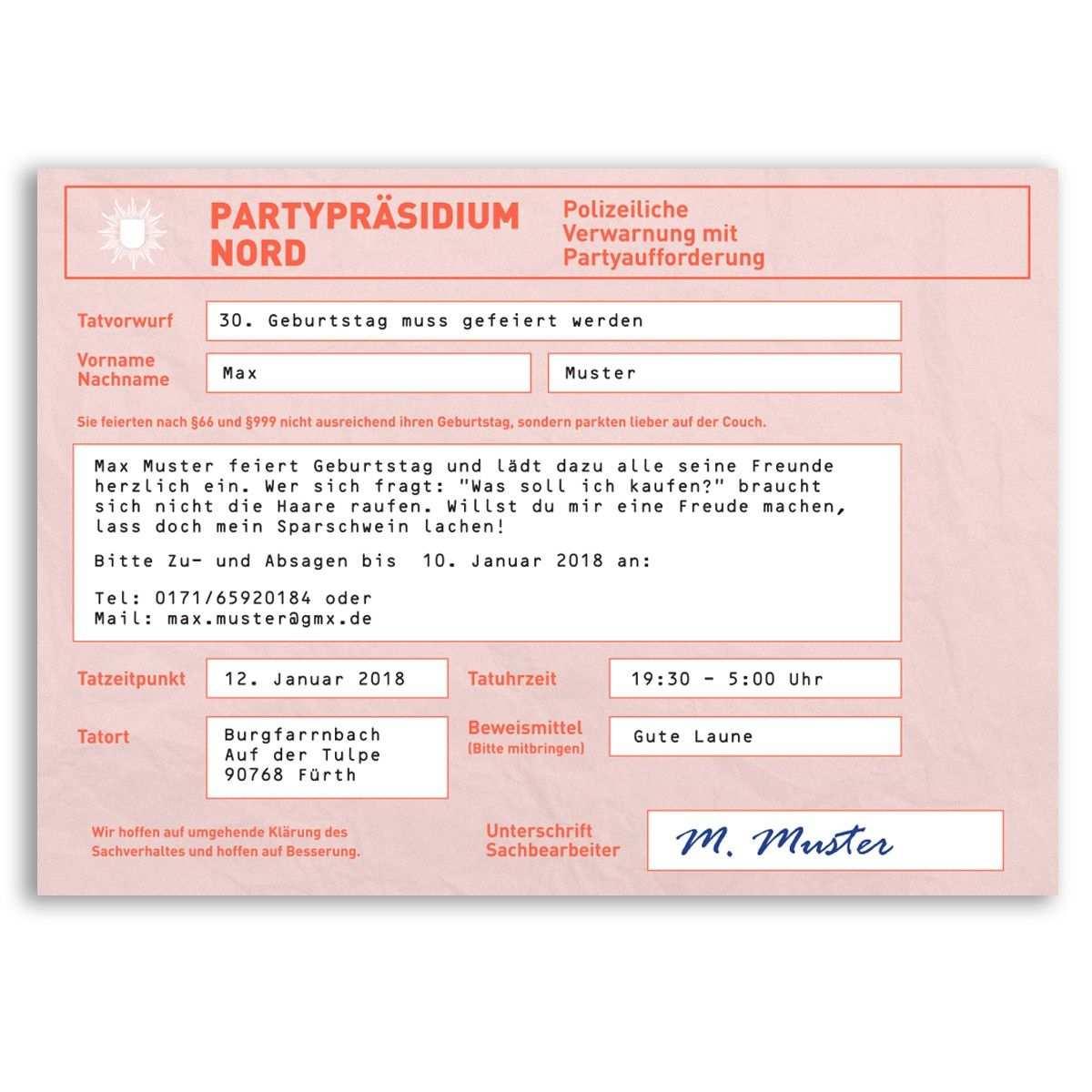 Einladungskarten Als Strafzettel Einladungskarten Einladungen