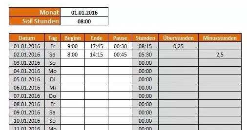 Arbeitszeitnachweis Uberstundenrechner Excel Vorlage