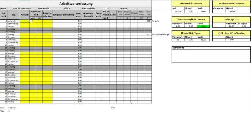Arbeitszeiterfassungsvorlage Fur Microsoft Excel Stefan S Weblog