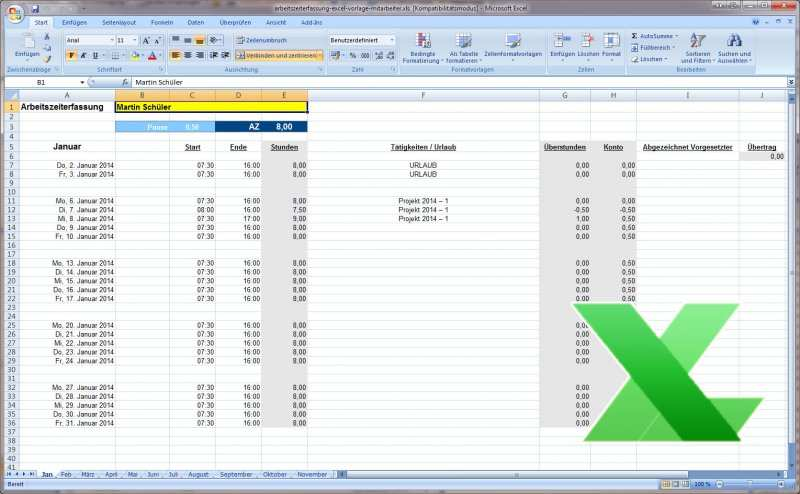 Arbeitszeiterfassung Excel Vorlage Kostenlos Download Hier
