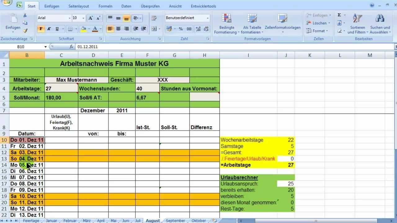 Excel Zeiterfassung Wochentage Bedingt Formatieren Youtube