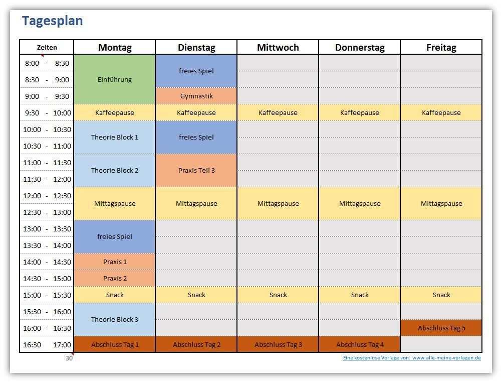 Tagesplan Fur Eine Woche Excel Vorlage Tagesplan Planer Vorlagen