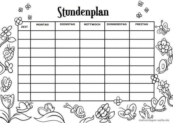 Stundenplan Vorlage Schmetterlinge Stundenplan Vorlage