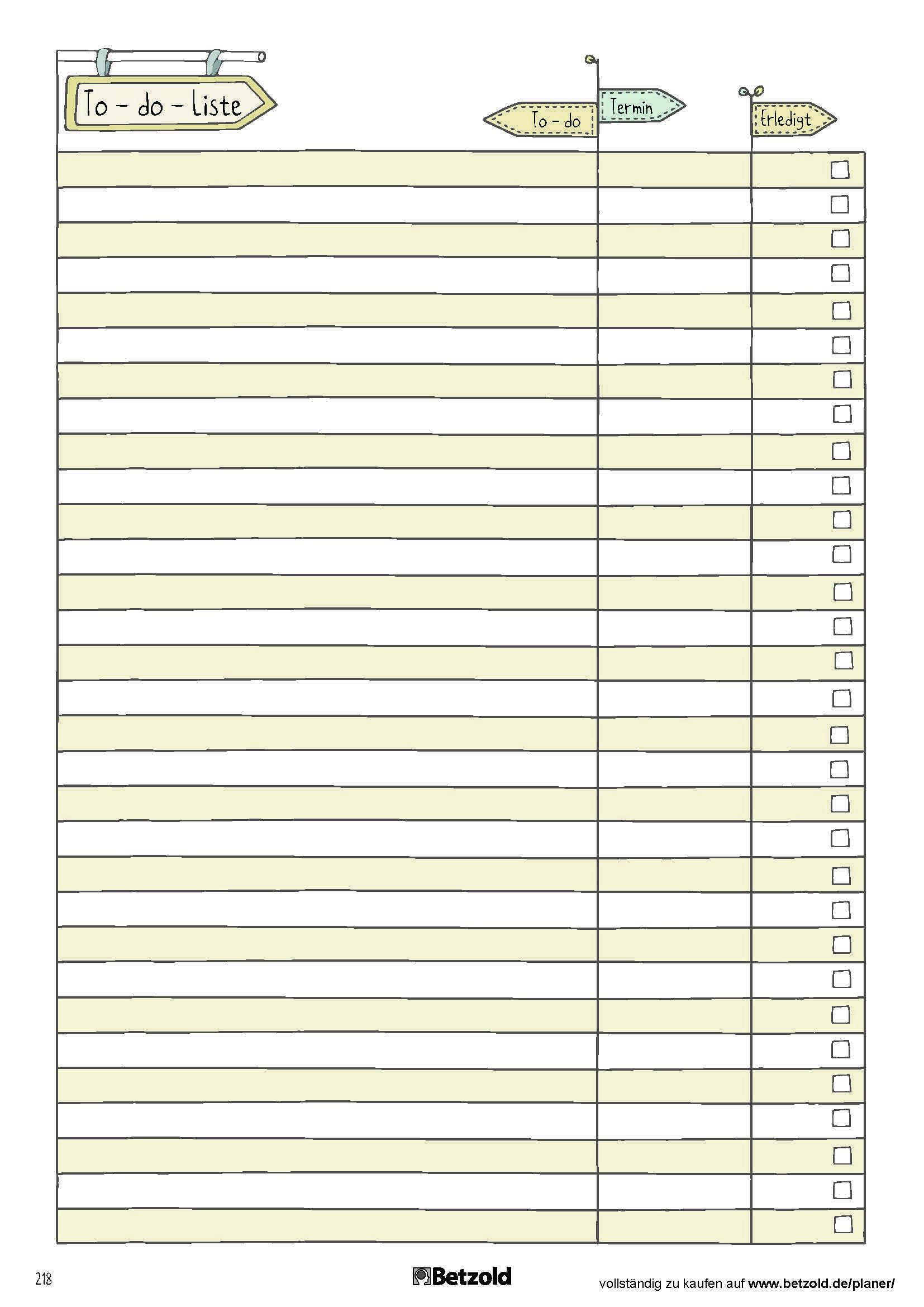 To Do Liste Praktische Vorlage Zum Ausdrucken Aus Dem Betzold