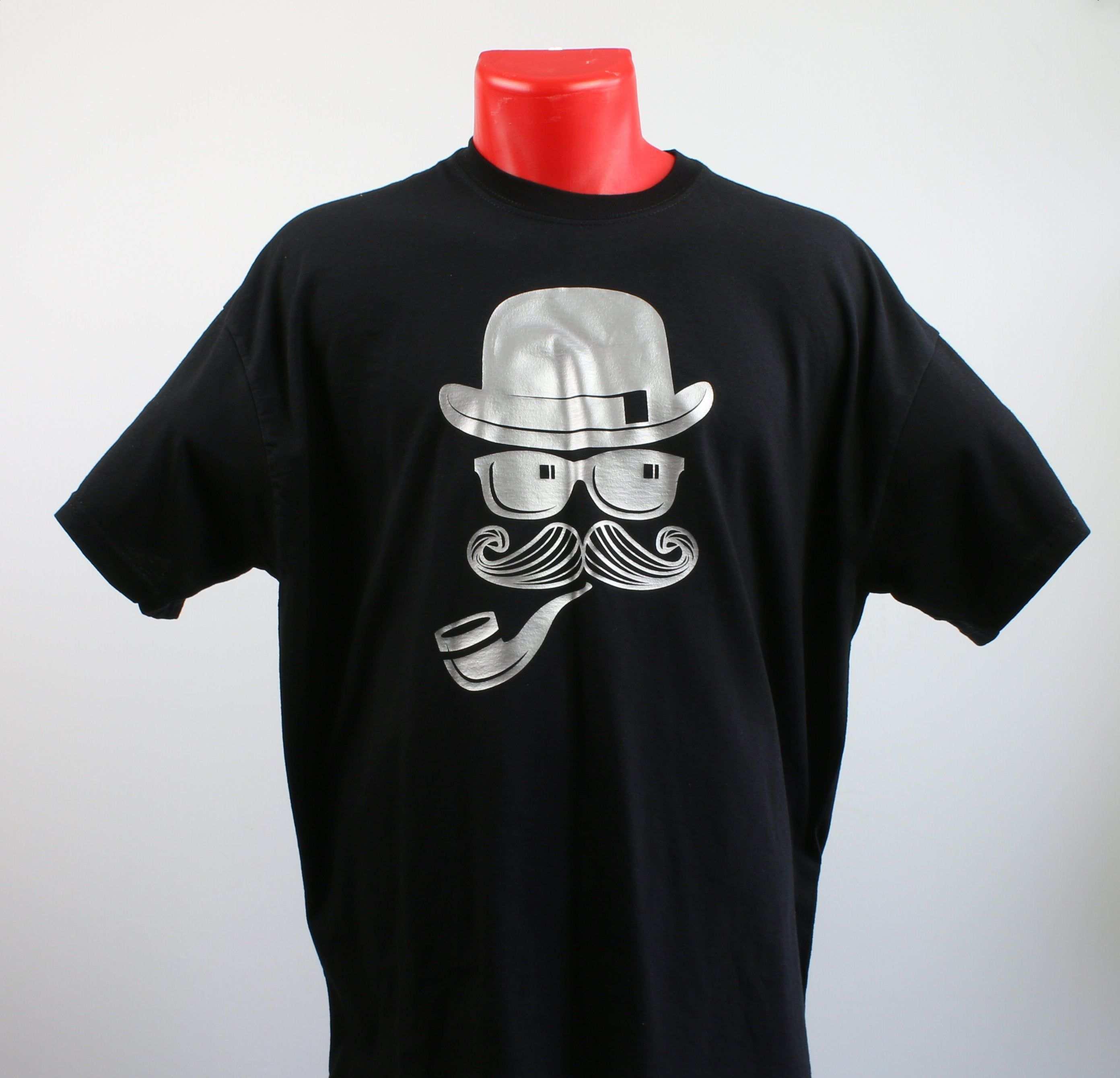 T Shirt Fur Herren In Schwarz Motiv Mann Mit Hut Schwarzes Herren