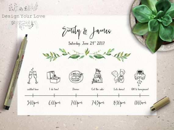 Ein Ablaufsplan Fur Deine Hochzeit Greenery Printable Wedding
