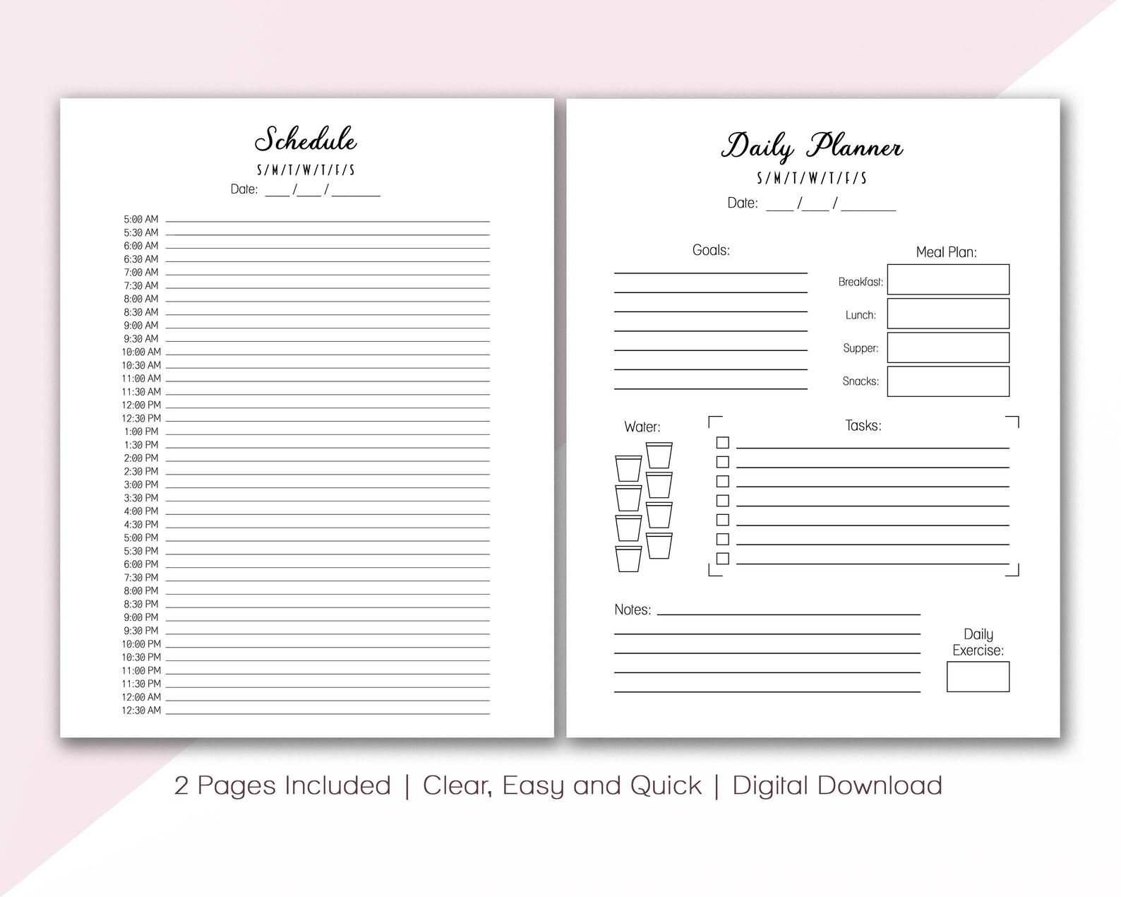 Editable Pdf Daily Life Planner To Plan Your Day With Undated