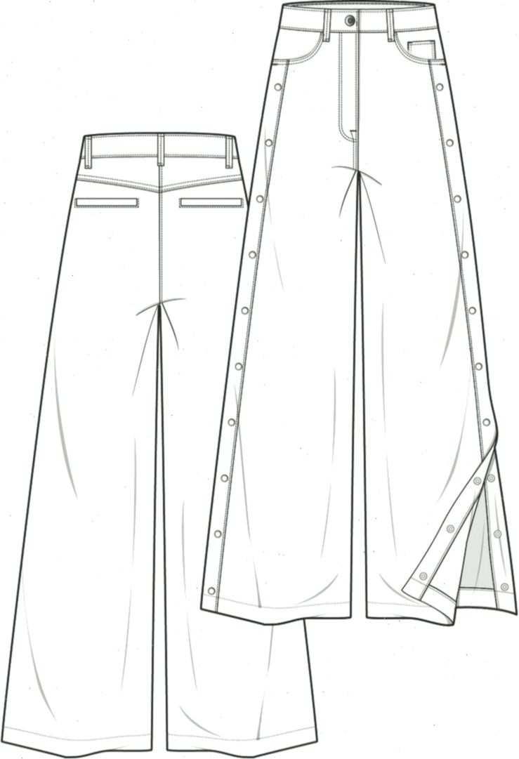 Hose Mode Flache Technische Zeichnung Vorlage Improve Yourself