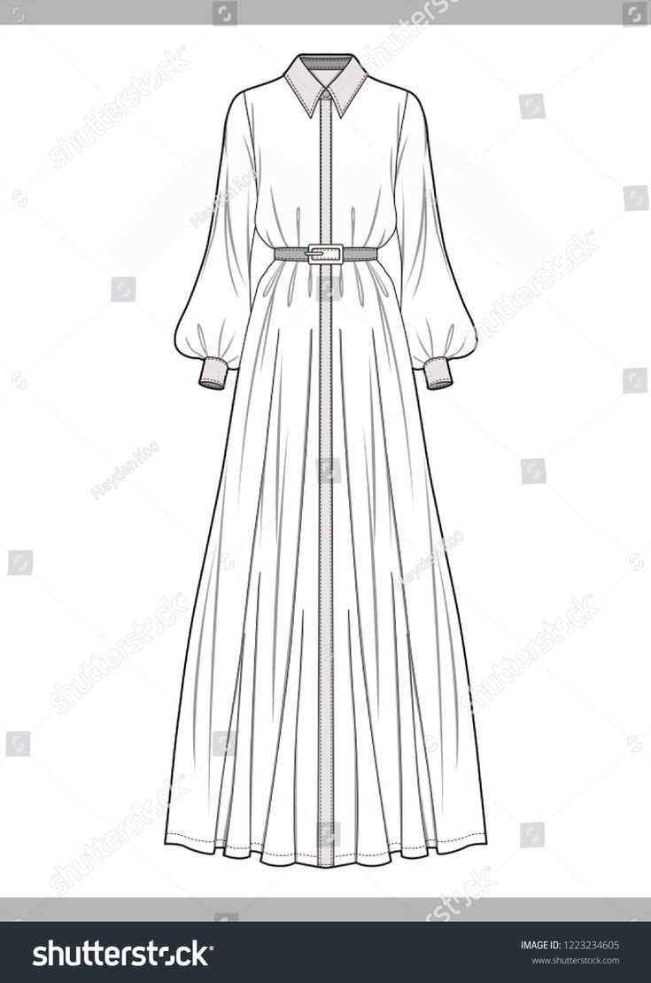 Kleid Mode Technische Zeichnungen Vektor Vorlage Fashion Drawing