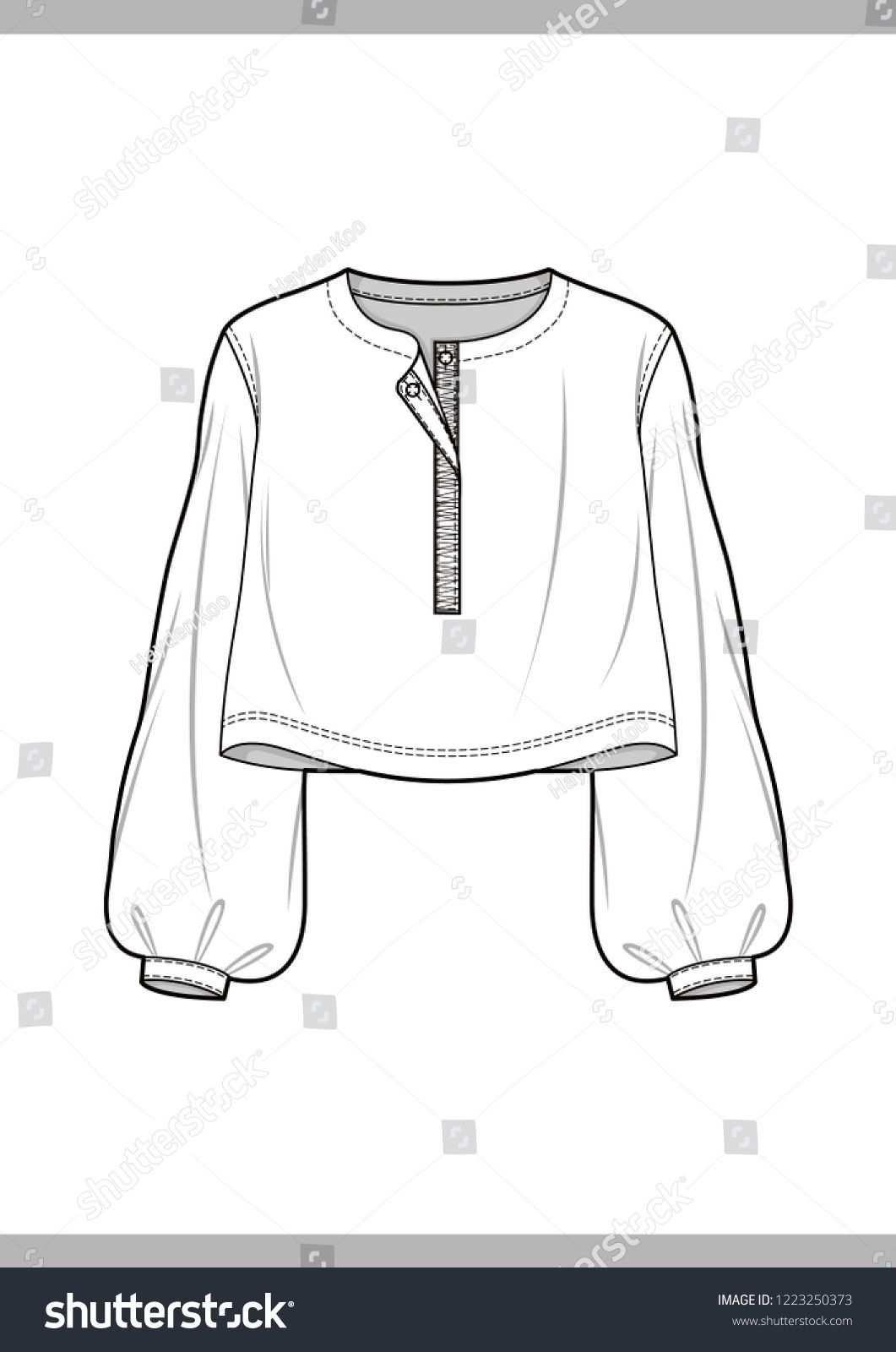 Bluse Mode Technische Zeichnungen Vektor Vorlage Stock