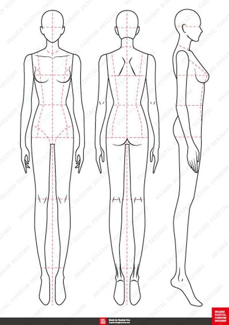 Fashion Figure Template 9head In 2020 Modeskizze Zeichnen