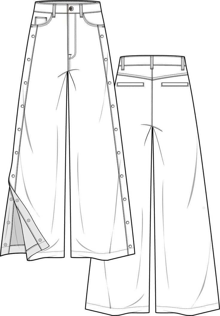 Hose Mode Flache Technische Zeichnung Vorlage Hosen Mode
