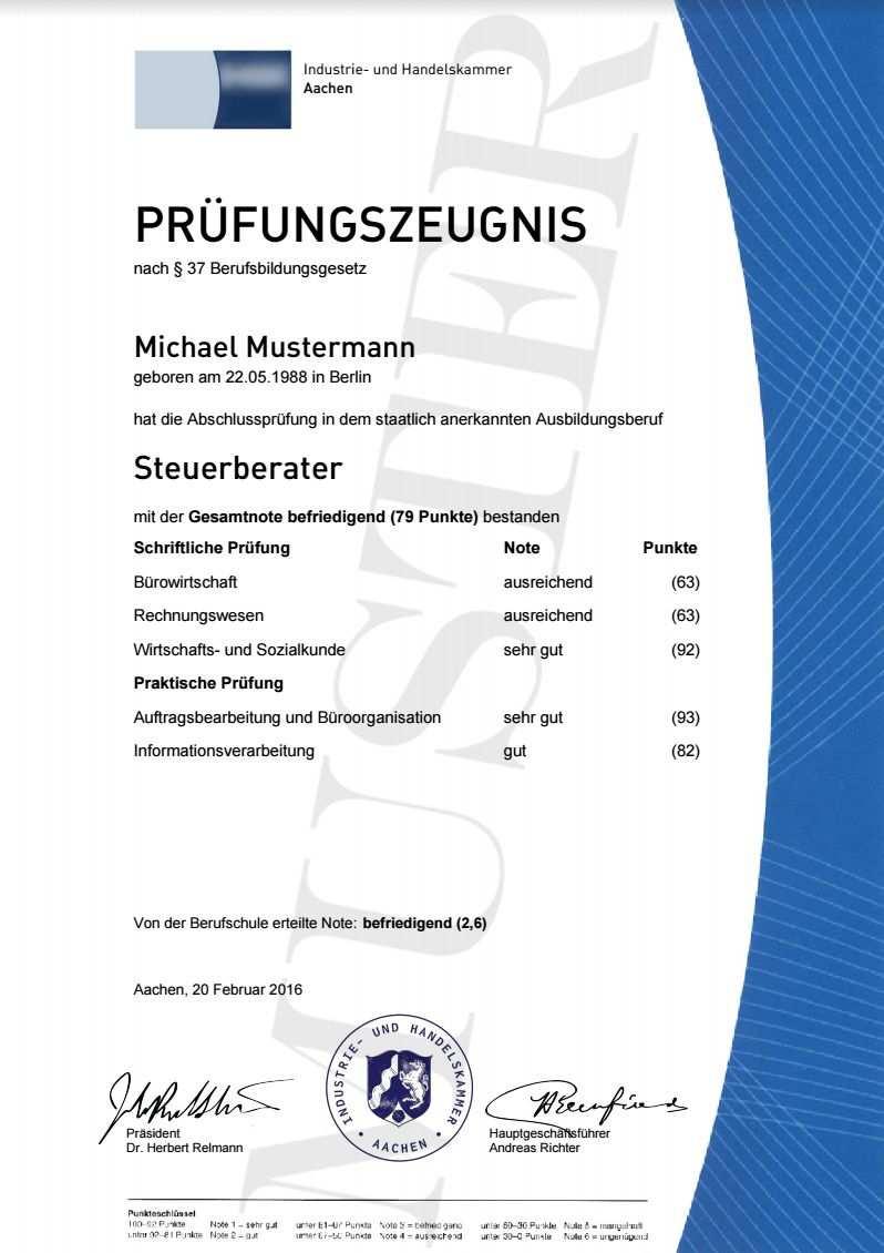 Ihk Prufungszeugnisse Berufszertifikate Diplome
