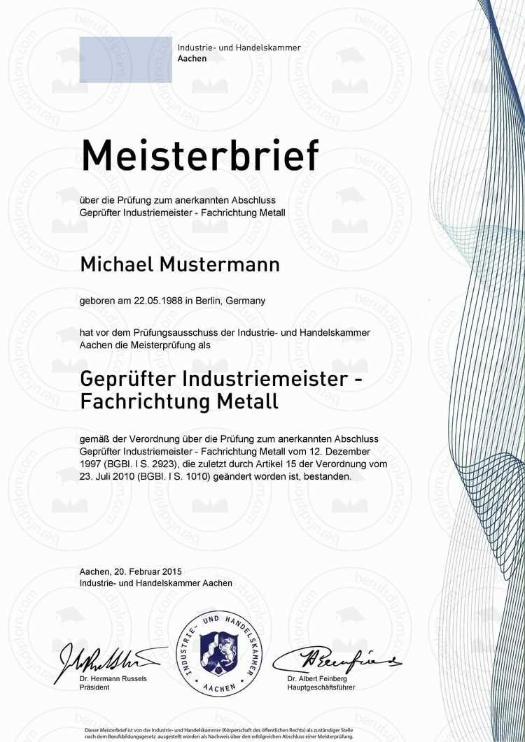 Masterurkunde Kaufen Hauptschulabschluss Meisterbrief