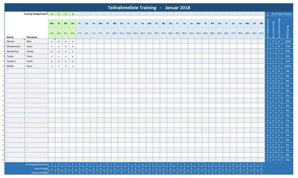 Anwesenheitsliste Training Teilnehmerliste Training