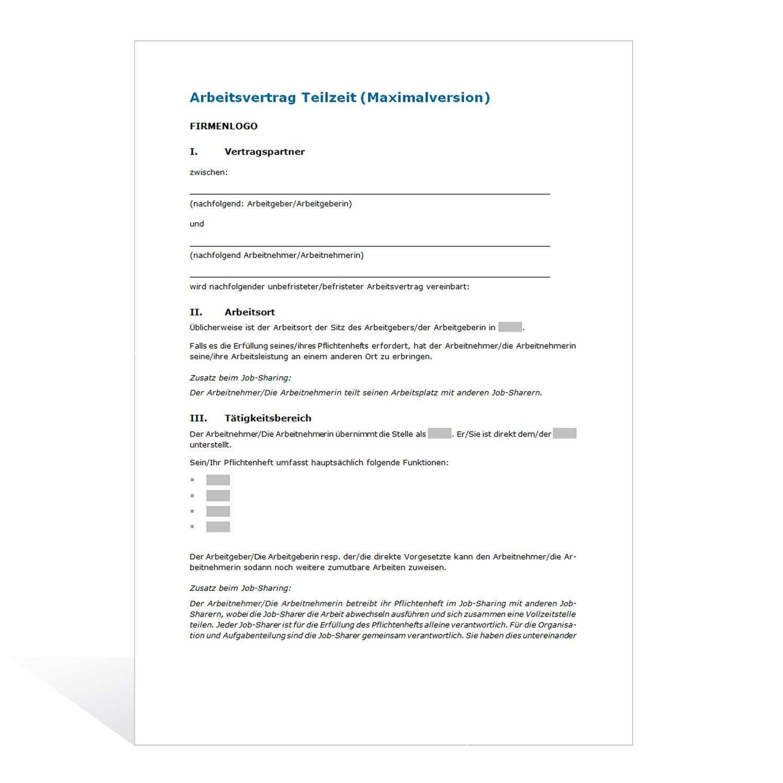 Muster Arbeitsvertrag Teilzeit Maximalversion