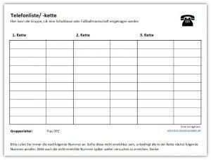 Telefonliste Telefonkette Telefon Checklisten Vorlage Excel