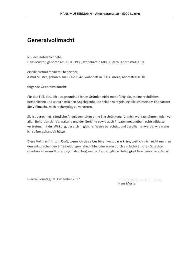 Vollmacht Vorlage Muster Schweiz Vollmacht Vorlagen Word
