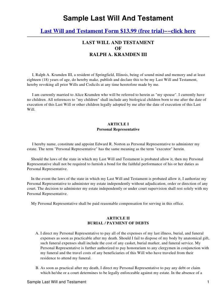Printable Sample Last Will And Testament Template Form Last Will